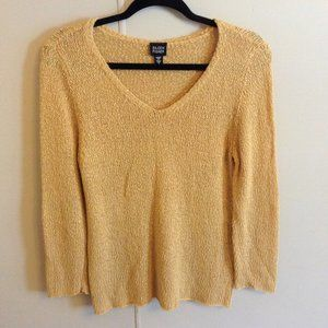 Eileen Fisher Long Sleeve VNeck Slub Knit Sweater
